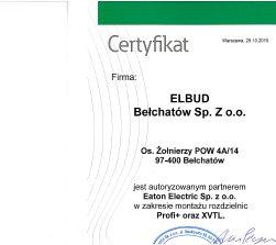 Certyfikat Eaton Electric