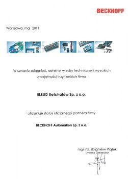 Certyfikat Bekhoff