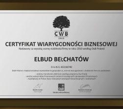 Certyfikat wiarygodności biznesowej 2010